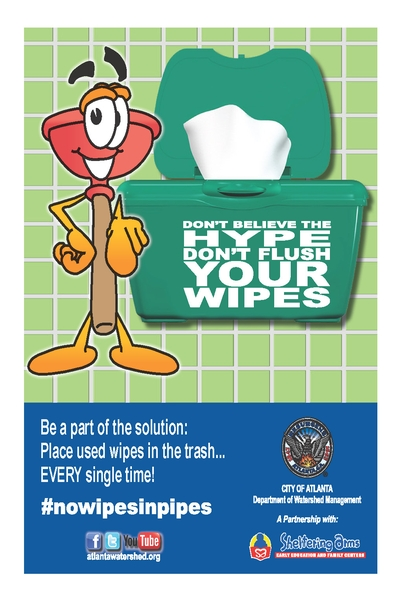 city of atanta: no wipes in pipes